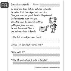 """PDF File Language: French Black & White 1 page Page Size: 8.5 X 11 in. Grade: 1st grade """"Voici une compréhension de lecture à 4 questions pour 1re année."""""""