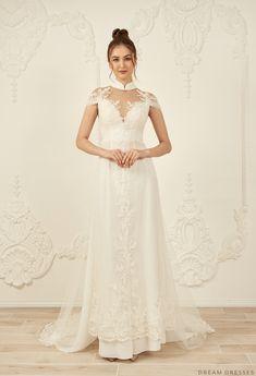 Shop the wide range of White Bridal Ao Dai Vietnamese Wedding Dress, Ao Dai Modern, Ao Dai Wedding, Cheongsam Modern, Wedding Dresses Pinterest, Vietnamese Clothing, White Bridal, Wedding White, Wedding Looks