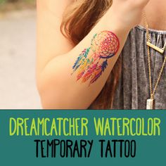 Dreamcatcher Watercolor Temporary Tattoos - Large Dream Catcher Fake Tattoo - Color - Hipster Tattoo Decal - Big Temp Inks - Boho - Vintage