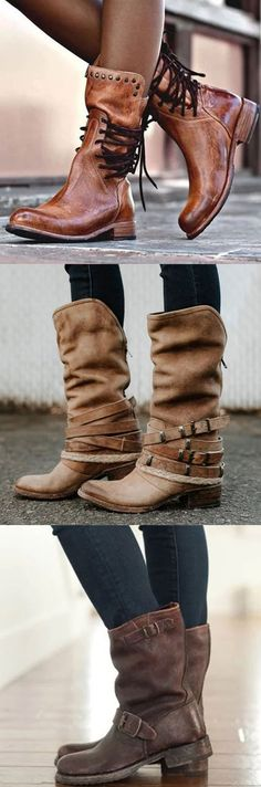 Back Zipper Vintage Boots Lace-Up Holiday Mid-calf Boots Hot Sale!Back Zipper Vintage Boots Lace-Up Holiday Mid-calf Boots Fashion Handbags, Fashion Bags, Fashion Sites, Fashion 2016, Dress Fashion, Look Boho, Vintage Boots, Business Casual Outfits, Mid Calf Boots