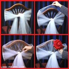 "Képtalálat a következőre: ""diy wedding decor with silk flowers, tulle, ribbon"" Wedding Chair Decorations, Wedding Chairs, Wedding Table, Rustic Wedding, Event Planning, Wedding Planning, Chair Sashes, Event Decor, Wedding Designs"