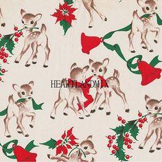 Reindeer Vintage Christmas Paper Digital Image Wallpaper Download Printable