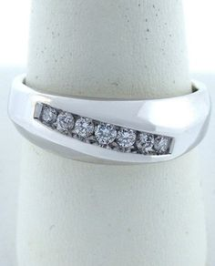 MENS 14K WHITE GOLD 7 DIAMOND COMFORT WEDDING BAND 1 3ct 7mm