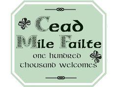 Marie's Pastiche: Irish Escapade - Printable Welcome Sign