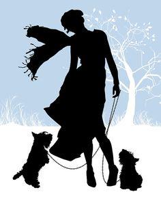 Artículos similares a Brisas de otoño alegre - silueta - impresión 8 x 10 - otoño Scottie perro moda mascotas en Etsy