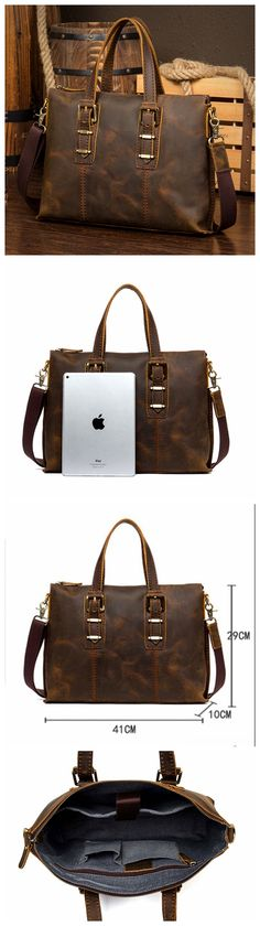 Leather Briefcase, Men's Messenger, Leather Laptop Briefcase MS119 Laptop Briefcase, Leather Briefcase, Monogram Logo, Bags, Totes, Handbags, Bag, Hand Bags