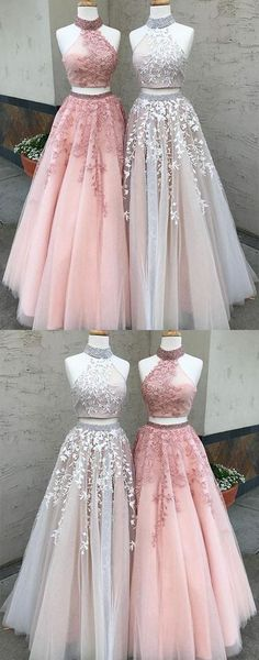 Dazzling Prom Dress,High-Neck Prom Dress,Long Two-Piece Applique Prom Dress,Lace Evening Dress