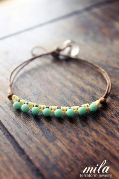 Partial wrap bracelet of knotted cotton cord & aqua beads ✿Teresa Restegui http://www.pinterest.com/teretegui/✿