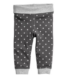 Dark gray/stars. CONSCIOUS. Pants in soft organic cotton jersey with foldover ribbing at waist. Ribbed hems.