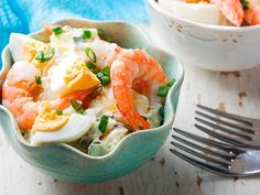 Potatoes, shrimp, and boiled eggs with a caper-mayonnaise vinaigrette. Shrimp And Eggs, Prawn Shrimp, Vinaigrette, Canada Food Guide, Prawn Recipes, Large Shrimp, Just Cooking, Group Meals, Seafood