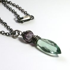 Double Fluorite Necklace  Mint Green Gemstone by vickiorion, $75.00