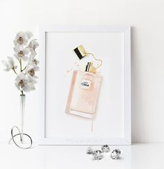 Perfume bottle print. Chloe perfume printable. Perfume bottle Chloe.  Watercolor Chloe perfume. Fashion printable poster. Fashion artwork d3007d79856e6