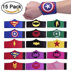 QWER Superhero Party Bracelets for Children Birthday Party Supplies Favors 15 Pieces Superhero Capes, Superhero Birthday Party, Birthday Party Themes, Birthday Supplies, Party Supplies, Halloween Bebes, Wonder Woman Birthday, Cute Kids Crafts, Kid Party Favors