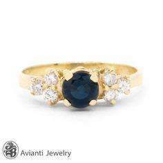 Blue Sapphire Ring Diamond Ring Sapphire and by AviantiJewelry
