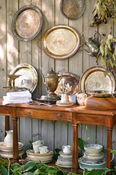 Silver tray collage on  a fence for summer! great patina ,