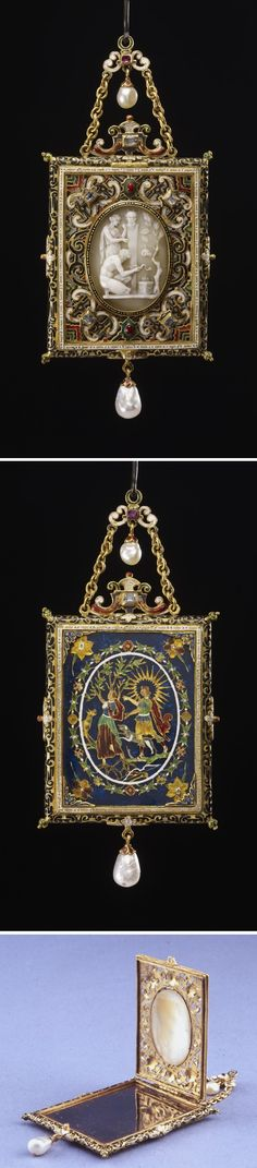 Oblong pendant frame; gold; contains metal mirror and portrait of James I in style of Hilliard; gold border with black enamel scrolls; cover is open strapwork, enamelled and set with oval cameo of sacrifice to Pan; four diamonds in corners, two on scroll on top; back formed of plate of enamel on foil with Apollo pursuing Daphne, whole surrounded by wreath; border engraved with scrolls filled with black enamel; double suspension chain with pendant pearl, second pearl hangs from bottom. France