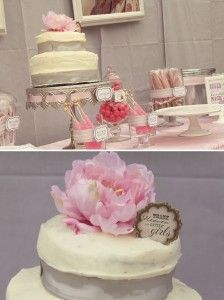 pink elegant baby shower decor