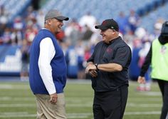 49ers vs. Bills:     October 16, 2016  -  45-16, Bills  -    Oct 16, 2016; Orchard Park, NY, USA;  Buffalo Bills head coach Rex Ryan and San Francisco 49ers head coach Chip Kelly talk on the field before a game at New Era Field. Mandatory Credit: Timothy T. Ludwig-USA TODAY Sports