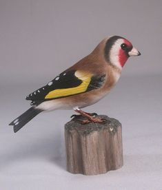 This is an original, fully detailed and life sized carving. The bird is hand carved from basswood and painted with acrylic colors. It is mounted on a hand carved wooden base. Glass eyes and metal feet. The size of the carving measures 4-1/4 inches high and 4-1/2 long from the beak to the