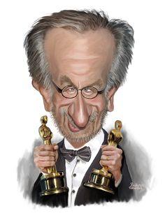 Cartoon: Steven Spielberg (medium) by rocksaw Funny Caricatures, Celebrity Caricatures, Jurassic Park, Pop Art, Caricature Artist, Making Faces, Steven Spielberg, I Fall In Love, Cartoon Art