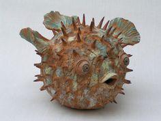 Poisson hérisson-grès-Dim = 25 x 25 x 25 cm-Disponible-sculpture olivia tregaut