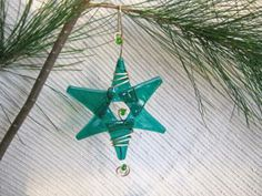 Great Teacher's Gift, Hostess Gift, Party Favor, Holiday Package Decoration - Fused Glass Star / Fairy Garden / Suncatcher - Teal Green Glass, Golden Wire with Green accent beads by IntheShadeoftheSycamoreTree for $11.05