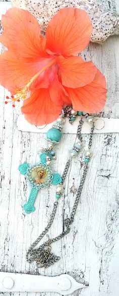 Cross Assemblage Necklace  Mother Mary by SecretStashBoutique