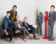 EXO-K, Left to Right: D.O, Suho, Sehun, Baekhyun, Kai, Chanyeol.