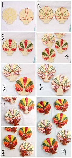 These decorated turkey cookies make great Thanksgiving favors. They are sugar cookies decorated with royal icing and are made from a tree cookie cutter. Turkey Cookies, Fall Cookies, Cut Out Cookies, Iced Cookies, Cute Cookies, Holiday Cookies, Cupcake Cookies, Halloween Cookies, Acorn Cookies
