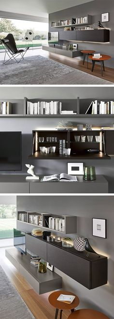 Modern wall unit by Livitalia from Italy. The wall unit has a built-in pillars TV mount with cab Contemporary Tv Units, Modern Wall Units, Home Tv Stand, Tv Unit Design, My New Room, Home Decor Inspiration, Home Interior Design, Family Room, Furniture Design