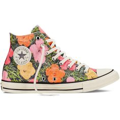 Converse Chuck Taylor All Star Andy Warhol Floral – white Sneakers ($70) ❤ liked on Polyvore featuring shoes, sneakers, white, floral print sneakers, blossom shoes, star sneakers, white trainers and white floral shoes