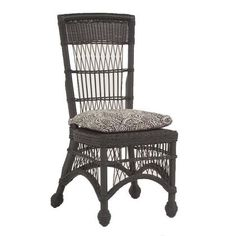 Wicker Cottage Dining Side Chair With Cushion Finish Choice