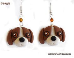 polymer clay earrings with chihuahua dog handmade by velvetdressx