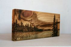 Sunset Art Block Wood burning by TwigsandBlossoms on Etsy - Crafts - Pyrography - Wood Burning Crafts, Wood Burning Patterns, Wood Burning Art, Wood Crafts, Wood Burning Projects, Diy Wood, Wood Wood, Sunset Art, Wood Creations