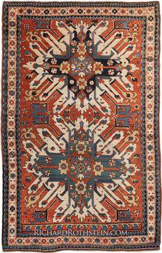 Double Eagle Kazak Size: x Magic Carpet, Tribal Rug, Textile Art, Rugs On Carpet, Bohemian Rug, Eagle, Tapestry, Antiques, Oriental Rugs