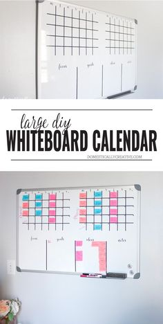 Turn a regular dry erase board into your own personal DIY whiteboard calendar and planner! Use it for your editorial calendar or for your family's schedule. Dry Erase Calendar, Diy Calendar, School Calendar, 2019 Calendar, Whiteboard Planner, Planner Organization, Office Organization, Time Management, Home Office