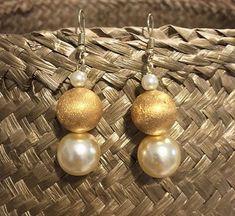 Dangle Earrings with top quality faux pearls and gold plated brass cast bead, Boho earrings, Hook earrings, FREE WORLDIDE SHIPPING Boho Earrings, Pearl Earrings, Boho Sandals, Jewel Box, Boho Chic, Dangles, Best Gifts, Jewels, Beads