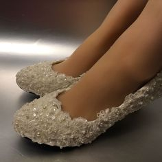 Lace white ivory pearls Wedding shoes Bridal flats low high heel pumps size 5-12 #FlatheelsWedges