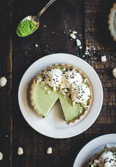 matcha panna cotta and black sesame tartlets