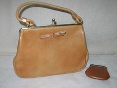 Vintage 50s 60s Margolin Brown Tan Genuine Leather Bow Frame Purse & Coin PurseVintage 50s 60s Margolin Brown Tan Genuine Leather Bow Frame Purse & Coin Purse