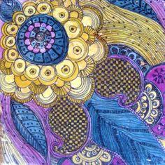 "DECORATIVE STONE TILE-6""x6"" handmade with paisley design purple ochre blue"