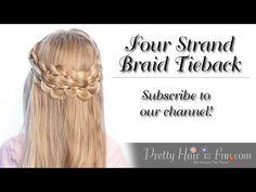How to: Four Strand Braid Tieback | Pretty Hair is Fun - YouTubeBraid Hairstyles, Braids, braids tutorial, braids for short hair, braids for short hair tutorial, braids for long hair, braids for long hair tutorials...