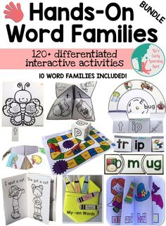 Huge word family pack full of hands-on activities to keep kids engaged. CVC and CCVC words for 10 word families.