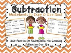 This pack has great subtraction worksheets perfect for kindergarten. It has visuals and examples that encourage independent practice.  Includes worksheets with pictures and without pictures. Also includes story problem practice and an emergent reader that describes subtraction in a very kid friendly way! Check out the preview for examples.