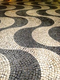 Tiles on the streets of Lisbon Portugal Black and White
