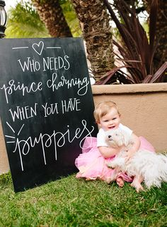 Puppy Princess Party, chalkboard calligraphy lettering by POPPYjack Shop - Inspired by This