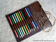 100% hand stitched handmade brown cowhide leather pencil / marker case / holder $85.46