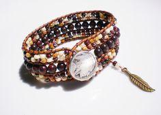 Gemstone Leather Cuff Bracelet