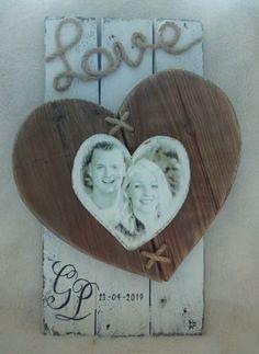 Herinneringsbord Geregistreerd Partnerschap met hartjes en foto | Karin's Deco Atelier