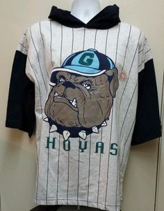 Vintage RARE Georgetown Hoyas Hooded Shirt 80s 90s Retro Style Hip Hop Rap XL in T-Shirts | eBay